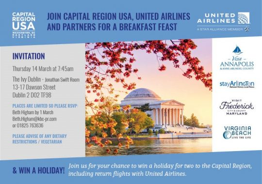 Join Capital Region USA, United Airlines and Partners for Breakfast Feast @ The Ivy, Jonathan Swift Room